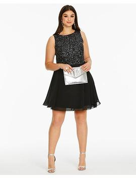 Ax Paris Curve Sequin Skater Dress by Simply Be