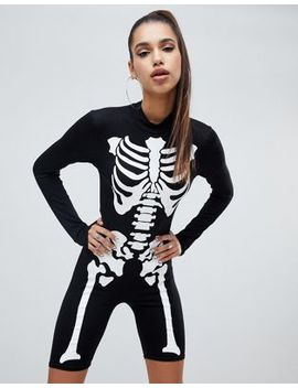 Pretty Little Thing   Skelet Unitard Voor Halloween In Zwart by Asos