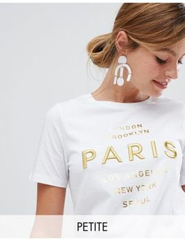 River Island   Petite   T Shirt Met Paris Borduursel by Asos