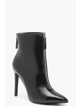 Zip Detail Pointed Shoe Boots by Boohoo