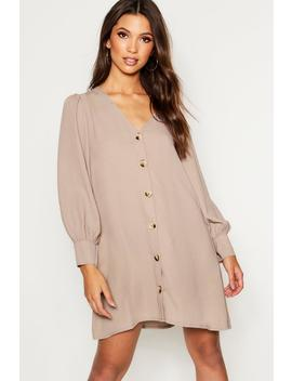Horn Button Through Balloon Sleeve Shift Dress by Boohoo