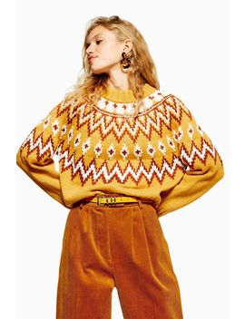 Mustard Fair Isle Jumper by Topshop