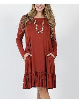 Fired Brick Long Sleeve Ruffle Hem Shift Dress   Plus by Zulily