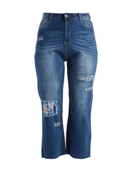 Denim Blue Floral Lining Distressed Cropped Jeans   Plus by See N Be Seen