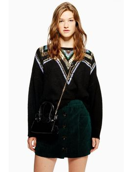 Sequin Yoke Fair Isle Jumper by Topshop