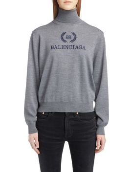 Embroidered Wreath Logo Wool & Cashmere Blend Sweater by Balenciaga