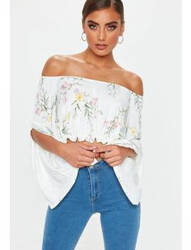White Bardot Floral Crop Top by Missguided