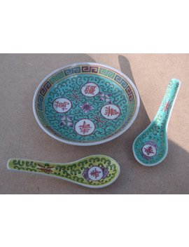 Dish & Spoon Set + Another Spoon   Bao Xiang Hua (Lotus Scroll) Pattern   Wan Shou Wu Jiang    Made In Jingdezhen, China by Etsy