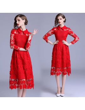 2018 Autumn Women's Fashion Temperament Doll Collar Lace Hollow Out A Line Dress by Unbranded