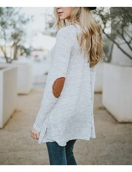 Heather Gray Elbow Patch Back Button Boatneck Tunic   Women & Plus by Zulily