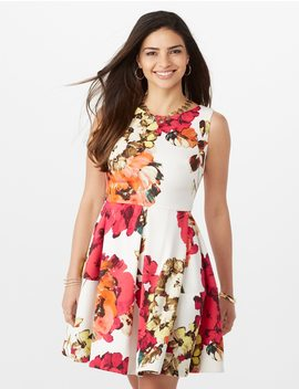 Floral Print Scuba Fit And Flare Dress by Dressbarn