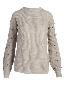 Twist Gray Ribbed Embellished Mock Neck Sweater   Women & Plus by Zulily