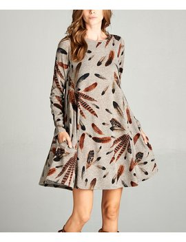 Mocha Feather Pocket Shift Dress   Plus by Zulily