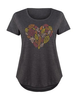 Heather Charcoal Fall Leaves Heart Scoop Neck Tee   Plus by Zulily