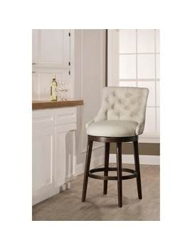 Hillsdale Furniture Halbrooke Tufted Smoke Fabric Swivel Bar Stool by Hillsdale