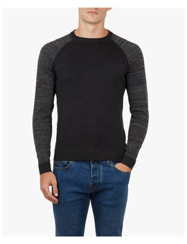 Ted Baker Cornfed Space Dye Crew Neck Top, Charcoal Grey by Ted Baker