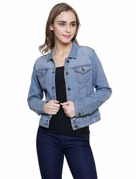 Mansi Collections Blue Embroidered Denim Jacket For Women by Mansi Collections
