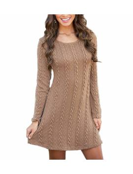 Mansy Womens Knitted Crewneck Sweater Dress by Mansy