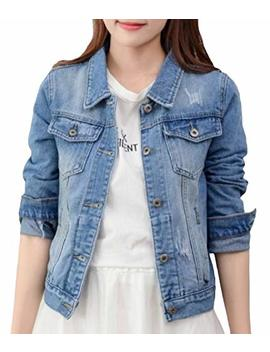 Wq&Energy Women Long Sleeve Button Pocket Lapel Denim Slim Outwear Jacket by Wq&Energy Women