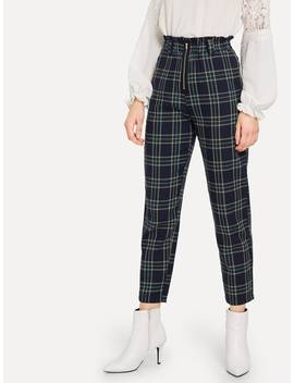 Plaid Frill Pants by Romwe
