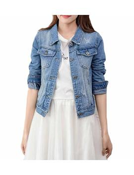 Chenshijiu Women's Classic Button Down Long Sleeves Outerwear Denim Coat by Chenshijiu