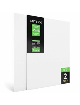 "Arteza Blank Pre Stretched Canvas For Painting, 36 X48"", Pack Of 2, Primed, 100 Percents Cotton, For Acrylic Paint, Oil Paint, Other Wet Or Dry Art Media, For The Professional Artist, Hobby Painters, Kids by Arteza"