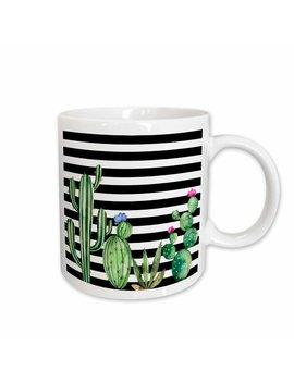 East Urban Home Stripes Watercolor Flowering Cactus Coffee Mug by East Urban Home