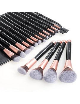 Makeup Brush Set Anjou 16pcs Professional Cosmetic Brushes With Soft And Cruelty Free Synthetic Fiber Bristles And Rose Gold Detailing   Elegant Pu Leather Pouch Included by Anjou