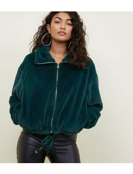 Pink Vanilla Dark Green Faux Fur Jacket by New Look