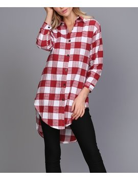 Red & White Plaid Round Hem Hi Low Button Up Tunic   Plus by Zulily