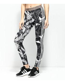 Adidas Black & White Floral 3 Stripe Leggings by Adidas