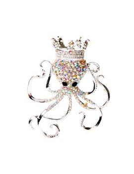 Rhinestone & Silvertone Crown Octopus Brooch by Zulily