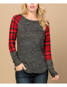 Charcoal & Red Buffalo Plaid Contrast Sleeve Scoop Neck Top   Plus by Zulily