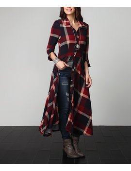 Red & Navy Plaid Maxi Cardigan   Plus by Zulily