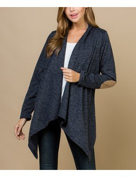 Navy Elbow Patch Open Cardigan   Plus by Acting Pro