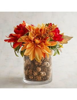 Faux Sunflower Arrangement In Pinecone Filled Vase by Grateful Harvest Collection