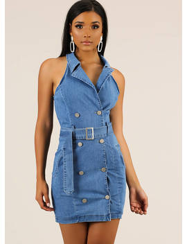 Good Jeans Belted Denim Minidress by Go Jane