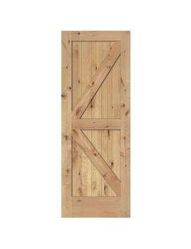 24 In. X 80 In. 2 Panel Solid Core Unfinished Knotty Alder Interior Barn Door Slab by Steves & Sons