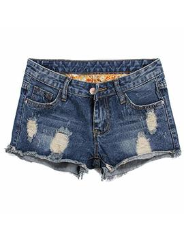 Blostirno Women's Denim Shorts Cuffed Short Jeans Pants by Blostirno