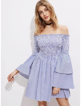 Shirred Off The Shoulder Bell Layered Sleeve Dress by Shein