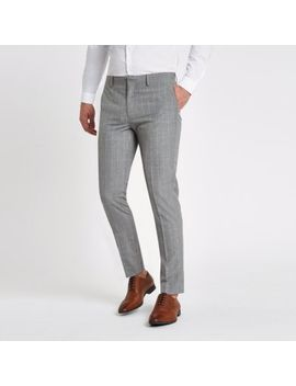 Grey Check Skinny Fit Suit Trousers by River Island