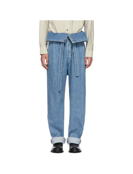 Indigo Belted Pleated Oversized Jeans by Loewe