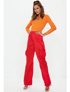 Red Combat Drawcord Trousers by Missguided