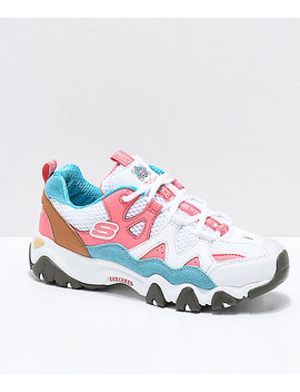 Skechers X One Piece D'lites 2 White, Pink And Blue Shoes by Skechers Usa