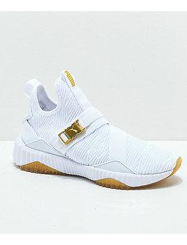 Puma Defy Varsity Mid White & Gold Shoes by Puma