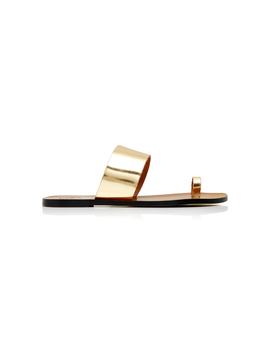 Astrid Metallic Glossed Leather Slides by Atp Atelier