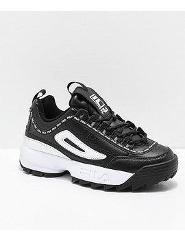Fila Disruptor Ii Premium Black & White Leather Shoes by Fila