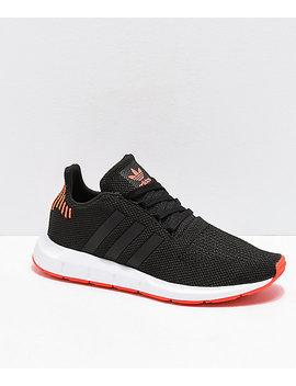 Adidas Swift Run Black, Orange & White Shoes by Adidas