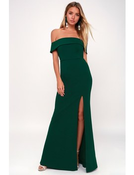 Aveline Forest Green Off The Shoulder Maxi Dress by Lulus
