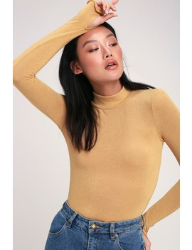 Leana Light Mustard Yellow Mock Neck Long Sleeve Top by Project Social T
